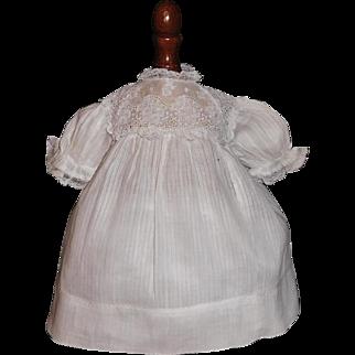 Sweet White Cotton Doll Dress, Small Kestner, Handwerck