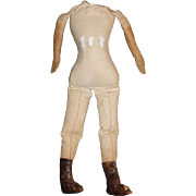 Great Early Cloth Doll Body w Leather Boots, China