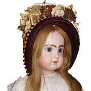 Beautiful Antique Straw Bonnet, Large Doll