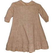 Early Girl's Antique Ca mid 1800's Brown Check Everyday Dress
