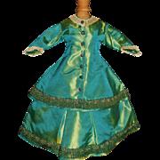Nice Green Silk 2 Pc French Fashion Doll Dress