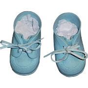 Pair of Vintage Blue Baby Doll Shoes