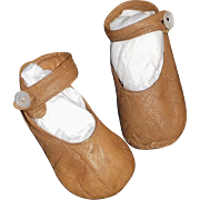 Lovely Pair of Soft Brown Leather Doll Shoes for a Large Cloth / Papier Mache