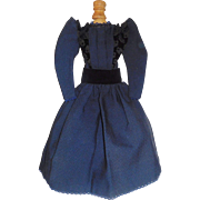 Pretty Vintage Dark Blue Fashion Doll Dress, Early Fabric