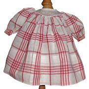 Sweet Vintage Red and White Plaid Cotton Doll Dress