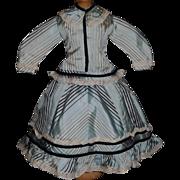 Pretty Blue Silk French Fashion Doll Dress