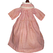 Sweet Antique Red and White Check Doll Dress, Cloth, Rag