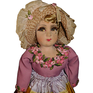 Charming Vintage Boudoir Doll, Bed Doll