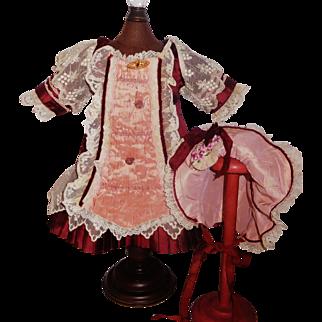 Pretty Burgundy Bebe Dress with Matching Bonnet