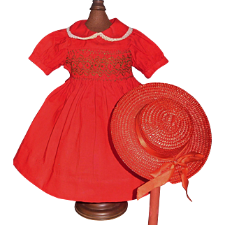 Wonderful Vintage Red Cotton Holiday Dress with Red Straw Hat