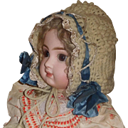 Nice Early Knit Hat, Blue Silk Ribbon for a Large Doll