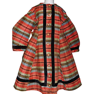 Antique Christmas Plaid Small Child's / Large Doll Dress Ca 1880