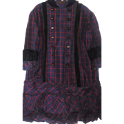 Antique Girl's Wool Plaid Dress Ca 1880