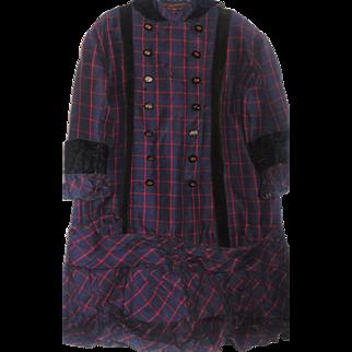Antique Girl's Wool Plaid Dress Ca 1880