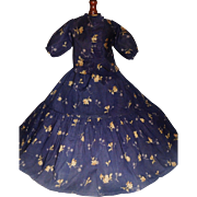 Beautiful Early Made 2 Pc Blue Floral Dress, China, Fashion, Papier Mache