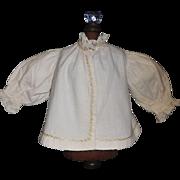 Wonderful Antique White Flannel Fashion Doll Jacket w Feather Stitching
