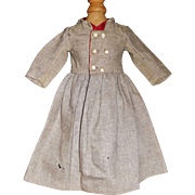 Antique Grey Wool Doll Coat Dress, Silk Trim
