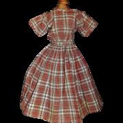 Nice Vintage Cotton Plaid Doll Dress, China, Papier Mache