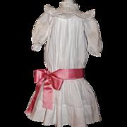Pretty White Cotton Antique Doll Dress, Large Kestner, Handwerck
