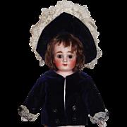 Sweet Blue Velvet Coat and Bonnet for a Small Doll