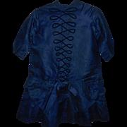 Lovely Royal Blue Silk Antique Child's Dress, Ca 1880-1900