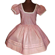 Beautiful Early Made Pink Cotton Doll Dress