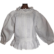 Fabulous Antique White Cotton Pique Doll Blouse