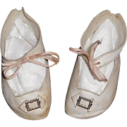 Nice Pair of Early White Leather Doll Shoes