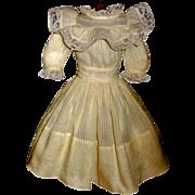 Fabulous Vintage Yellow Organdy Doll Dress w Petticoat
