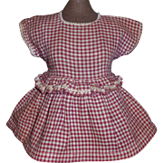 Cute Maroon Check Vintage Doll Dress