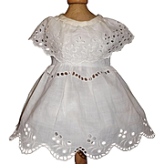 Lovely vintage White Cotton Eyelet Doll Dress