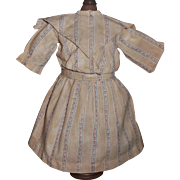 Vintage Brown Print Cotton Doll Dress