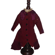Fabulous Antique French Fashion Doll Coat / Dress, Damage