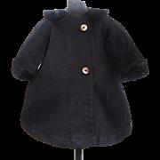 Nice Early Vintage Black Wool Doll Coat, Fur Trim
