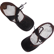 Pair of Black Leather Antique Doll Shoes