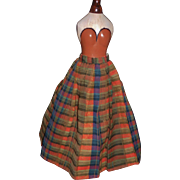 Wonderful Antique Wool Plaid Doll Skirt w Cotton Calico Lining