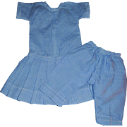 Blue and White Check Mommy Made Doll Dress with Pantaloons