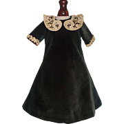 Lovely Early Green Velvet Doll Dress, China, Papier Mache