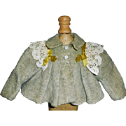Nice Early Short Wool Doll Jacket, Lace and Ribbons