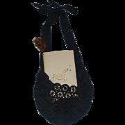 Lovely Antique Silk Purse w Dance Card, Lady Doll