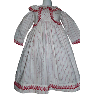 Wonderful Red and White Antique Cotton Child / Large Doll Dress
