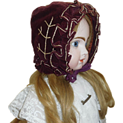 Wonderful Antique Velvet Doll Bonnet