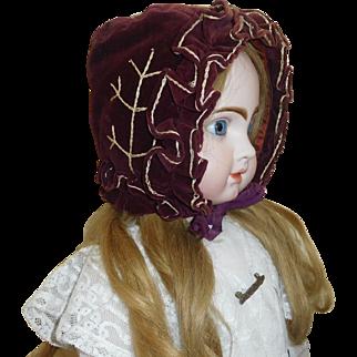 Wonderful Antique Velvet Doll Bonnet