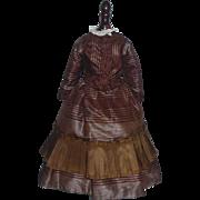 Beautiful 2 Piece Brown Silk Fashion Doll dress