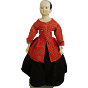 "30"" Early Antique Papier Mache Doll, Antique Clothing"