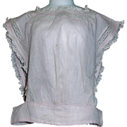 Antique Pink Cotton Chemise for a Large Doll, Lace and Inserts