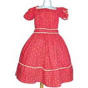 Fabulous Antique Red Calico Dress, Child / Large Doll
