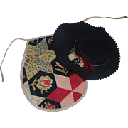 Fabulous Antique Doll Hat with Matching Apron