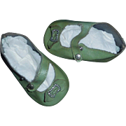 Nice Pair of Early Green Oil Cloth Doll Shoes