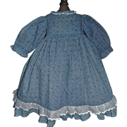 Pretty Blue Cotton Floral Doll Dress
